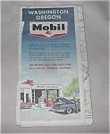 Vintage Mobil Road Map Wash. Oregon