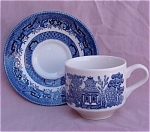 Churchill Blue Willow Cup & Saucer England