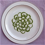 Homer Laughlin Green Flower Dinner Plate