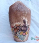 Japan Pillow Vase Raised Picnic Motif