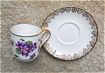 Vintage Limoges Demitasse With Violets C/s