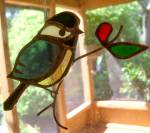 Stained Glass Hanger - Chickadee With Twig