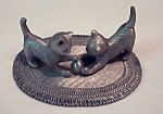 Pewter Cats On Rug Miniature Figurine