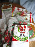 Vintage Christmas Apron, Towel, Tablecloth