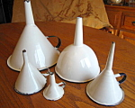 Antique Graniteware Funnels