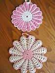 Vintage Pink Crocheted Potholders