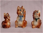 3 Small Porcelain Squirrel Figurines Mini