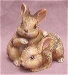 Homco Rabbit Bunnies Porcelain Figurine