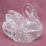 Enesco Japan Covered Swan Trinket Box
