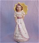 Vintage Girl W/umbrella Figurine Applied Flowers