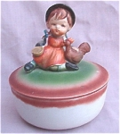 Girl With Chicken Covered Porcelain Box Candy