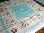 Vintage Cotton Aqua Square Tablecloth