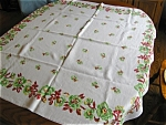 Vintage Rectangular Linen Kitchen Tablecloth