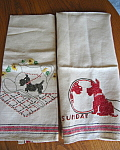 Vintage Scottie Dog Linen Kitchen Towels