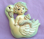 Miller Studios 1968 Mermaid Swan Chalk Plaque