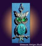Vintage Faux Turquoise Owl Pendant