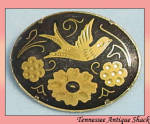 Vintage Damascene Oval Pin