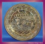 Repoussé Brass Plate Pub Motif Made In England