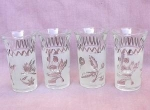 50's Frosted Glass Cordials Set Of 4