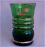 Retro Forest Green Cordial Glass Gold Trim