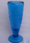 Grape Pattern Dark Turquoise Glass Vase
