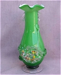 Cased Art Glass Hand Made Vase Applied Detail