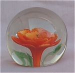 Orange Flower Solid Glass Paperweight