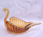 Amber Hand Crafted Art Glass Swan Dish