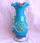 Hand Blown Cased Glass Vase W/applied Flowers