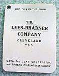 Lees-bradner Co Calculator Charts Gear Thread Milling