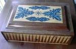 Document Jewelry Box W/inlaid Walnut Antique