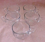 Cut Glass Coffee Cups (5) Floral & Leaf Pattern