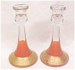 Ornate Crystal Candlesticks Gold 1920's