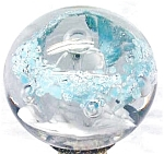 Royal Glass Paperweight Sky Blue White Silver