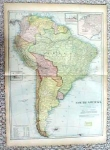 1899 Map South America & Islands Antique