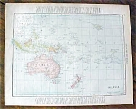 Antique Map Malaysia Australia New Zealand Fiji 1912