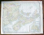 Antique Map Nova Scotia Quebec New Brunswick 1906