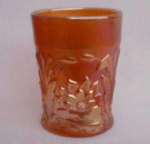 Waterlily & Cattails Carnival Glass Tumbler