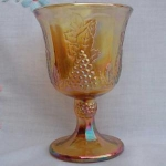 Indiana Harvest Grape Gold Carnival Glass Goblet