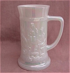 White Carnival Glass Beer Stein