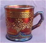 Fenton Orange Tree Blue Carnival Glass Mug