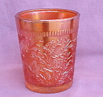Stippled Strawberry Carnival Glass Tumbler