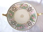 Nippon Porcelain Footed Bowl Double Handles 7 Inch