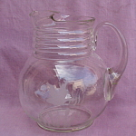 Etched Glass Ball Pitcher W/goose Cattails