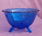 Mt. Pleasant L.e.smith Blue Glass Bowl 3 Footed