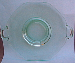 8 Sided Green Depression Glass Handled Plate