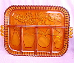 Golden Amber Fruit Indiana Glass Relish Tray