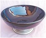 Large Black Milk Glass Bowl Metal Base