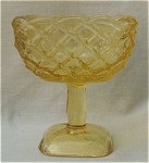 Canary Yellow Basket Weave Pedestal Comport
