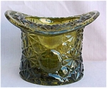 Wright Daisy Button Avocado Glass Hat Vase